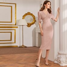 Button Front Puff Sleeve Pencil Dress