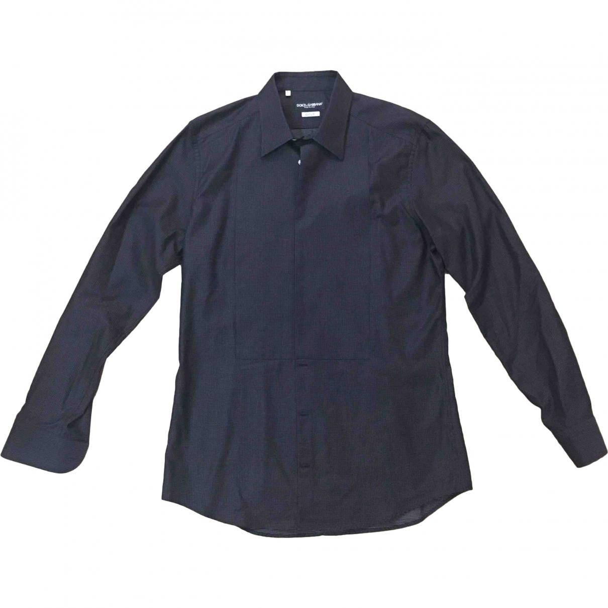 Dolce & Gabbana \N Black Cotton Shirts for Men 42 EU (tour de cou / collar)