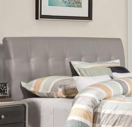 Lusso Collection 1945HTR Twin Size Headboard with Rails  Faux Leather Upholstery  Button Tufting and Wood Frame Construction in
