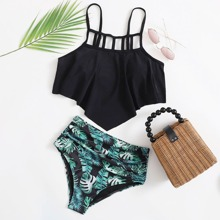 Tropical Hanky Hem Ruched Bikini Swimsuit