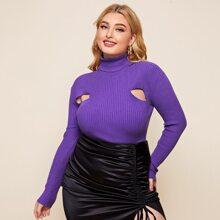 Pullover mit Rollkragen und Ausschnitt
