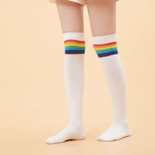 Kniesocken mit Regenbogen Streifen