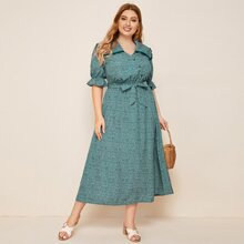 Plus Frill Trim Sailor Collar Belted Ditsy Floral Dress