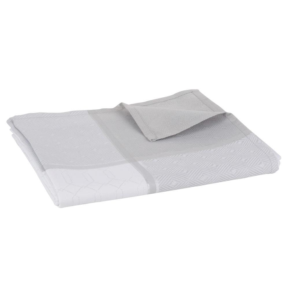 Tischdecke aus gewebtem Jacquard, ecrufarben und grau 150x250