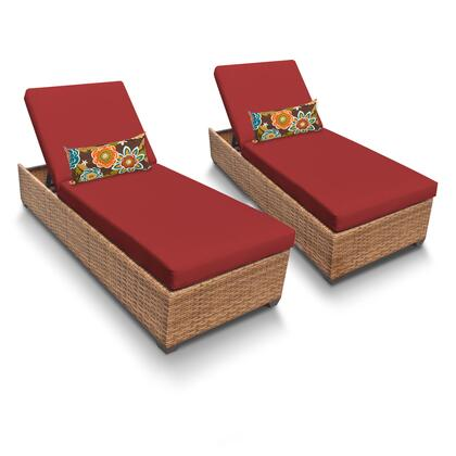 LAGUNA-2x-TERRACOTTA Laguna Chaise Set of 2 Outdoor Wicker Patio Furniture with 2 Covers: Wheat and