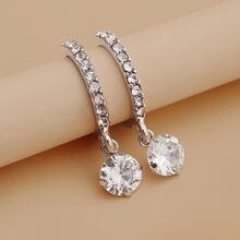 Pendientes largos con redondo con diamante de imitacion