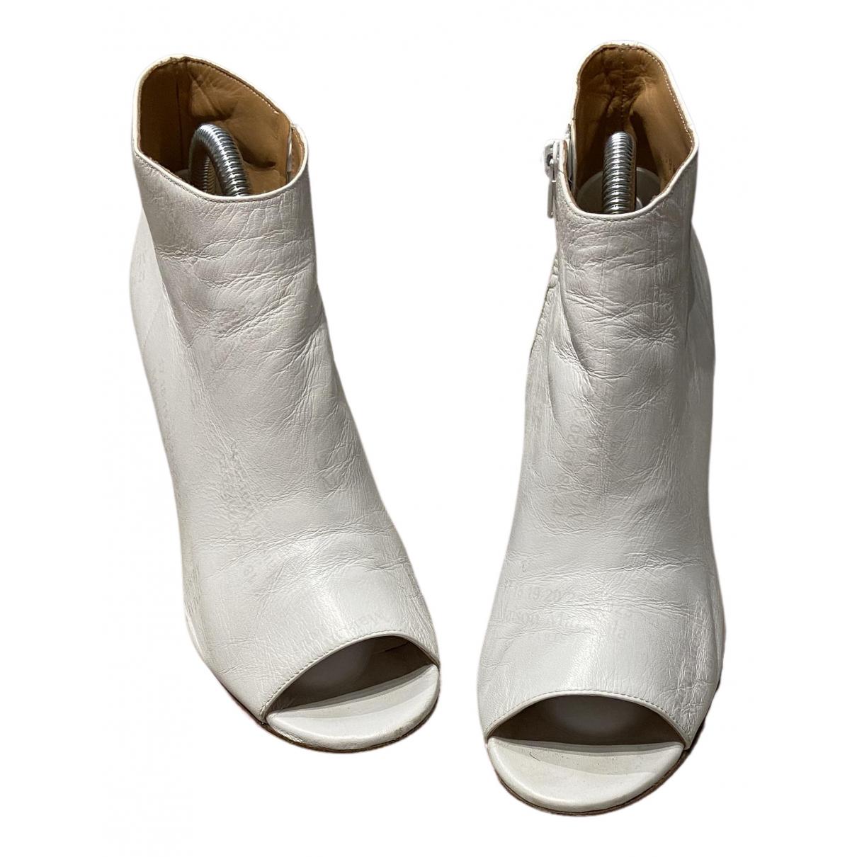 Maison Martin Margiela \N White Leather Ankle boots for Women 37 EU