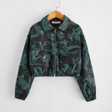 Girls Chinese Dragon Print Flap Pocket Front Wind Jacket