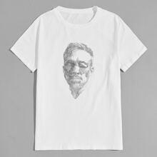 T-Shirt mit Figur Muster und kurzen Ärmeln