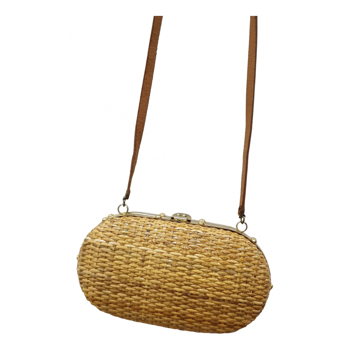 Non Signé / Unsigned Hippie Chic Camel Wicker handbag for Women \N