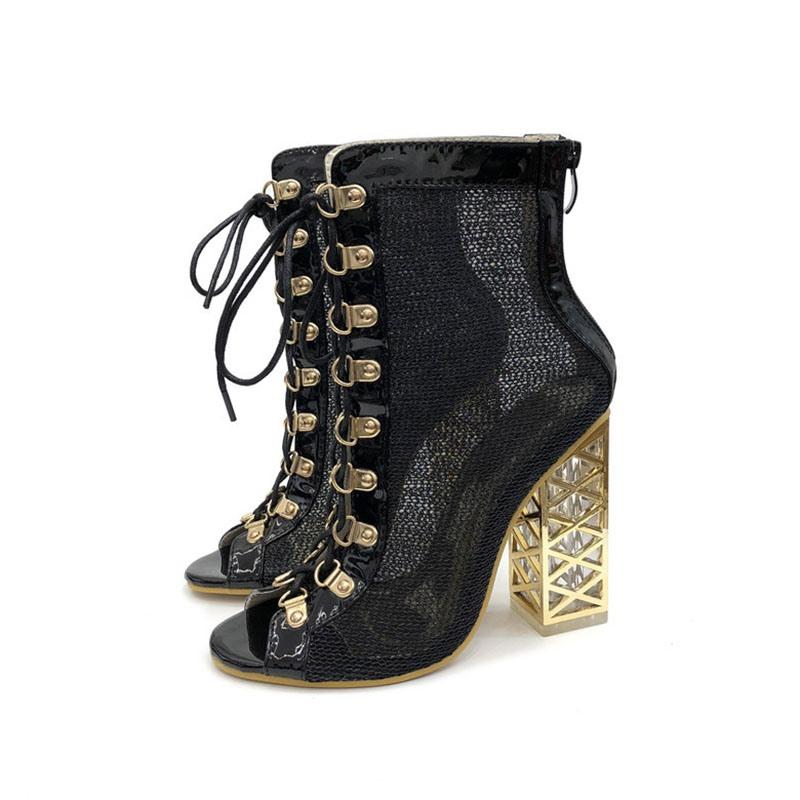 Ericdress Back Zip Peep Toe Patchwork Cross Strap Women's Ankle Boots