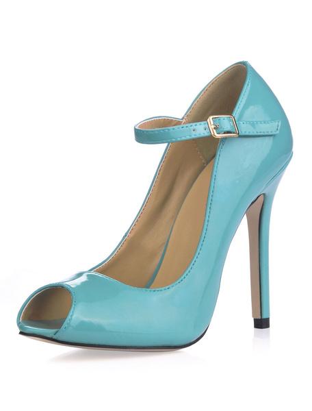 Milanoo Zapatos Peep toe con pala de charol Relojes de Modade patente de tacon de stiletto para mujer