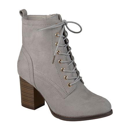 Journee Collection Womens Baylor Booties Stacked Heel, 6 1/2 Medium, Gray