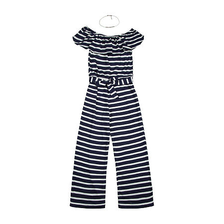 by&by Big Girls Sleeveless 2-pc. Jumpsuit, Large , Blue