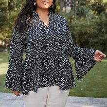 Bluse mit Gaensebluemchen Muster, eingekerbtem Kragen und Schosschen