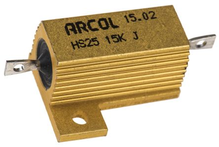 Arcol HS25 Series Aluminium Housed Axial Wire Wound Panel Mount Resistor, 15kΩ ±5% 25W