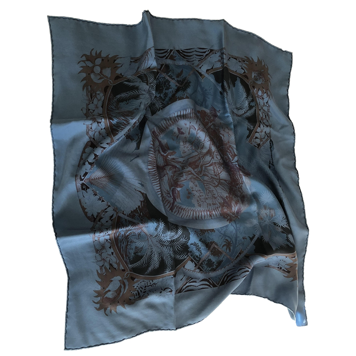 Hermes - Carre Carre 70 pour femme en soie - bleu