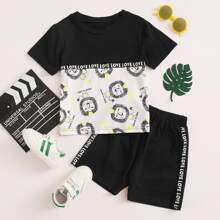 Toddler Boys Letter Tape Cartoon Graphic Tee With Shorts