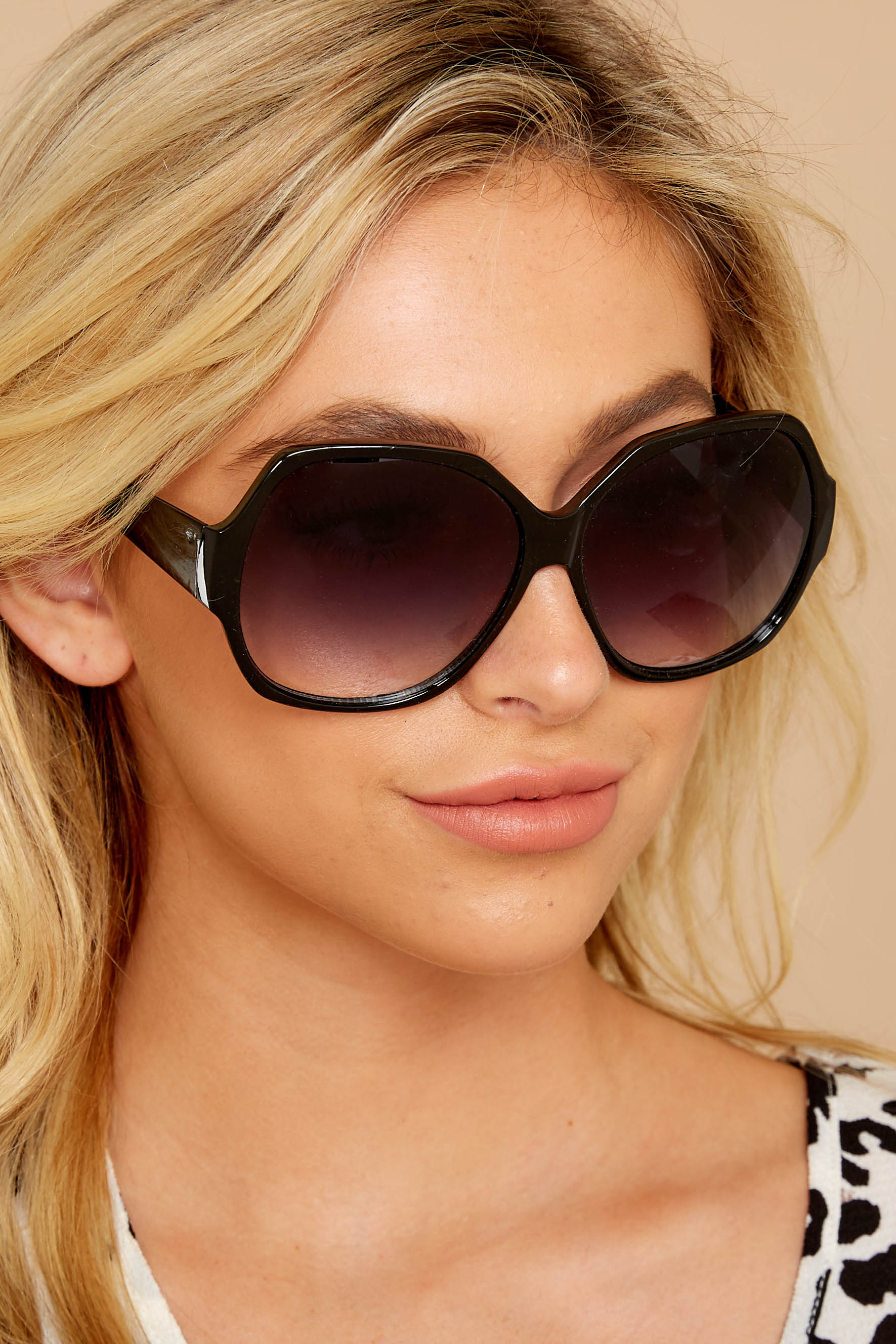 Raving Results Black Fade Black Glossy Sunglasses Grey