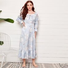 Eyelet Embroidered Tie Neck Floral Print Satin Night Dress