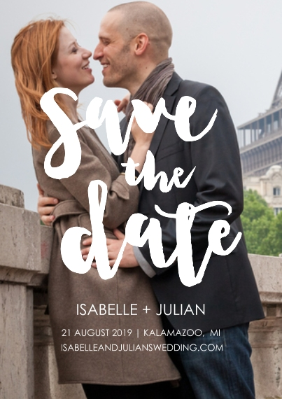Save the Date 5x7 Cards, Premium Cardstock 120lb with Elegant Corners, Card & Stationery -Funky Script Save The Date