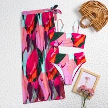 3 piezas Bañador bikini con estampado con falda de playa