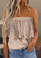 Lace Splicing Layered Blouse without Necklace - Light Khaki