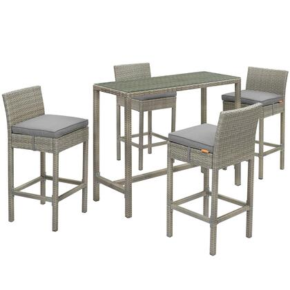 Conduit Collection EEI-3722-LGR-GRY-SET 5 PC Outdoor Patio Set with Powder-Coated Aluminum Frame  Tempered Glass Table Top  Synthetic Polyethylene