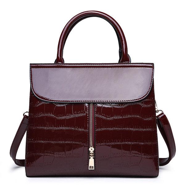 Crocodile Pattern Handbag Patent Leather Crossbody Bag Casual Shoulder Bag