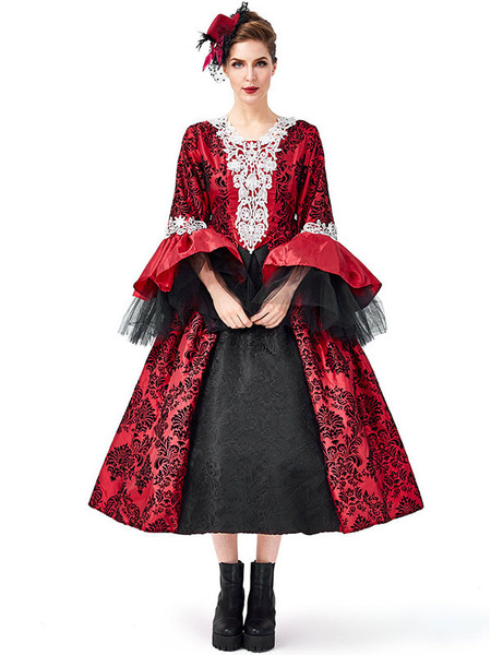 Milanoo Victorian Dress Costume Retro Costumes Lace Tulle Printed Red Dress Women's Trumpet Long Sleeves Lace Up Ball Gown Retro Costume Masquerade Vi