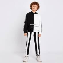 Boys Slogan Graphic Colorblock Hoodie & Sweatpants Set