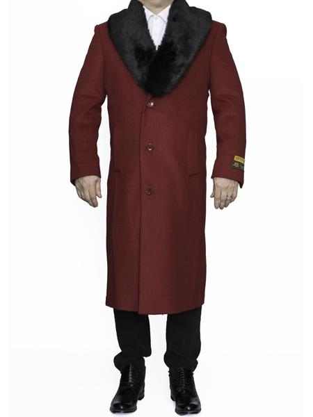 Mens Fur Collar Length Wool Dress Top&Overcoat Alberto Nardoni Brand
