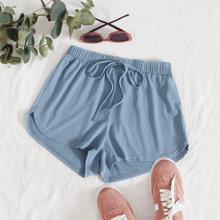 Tie Waist Rib-knit Track Shorts