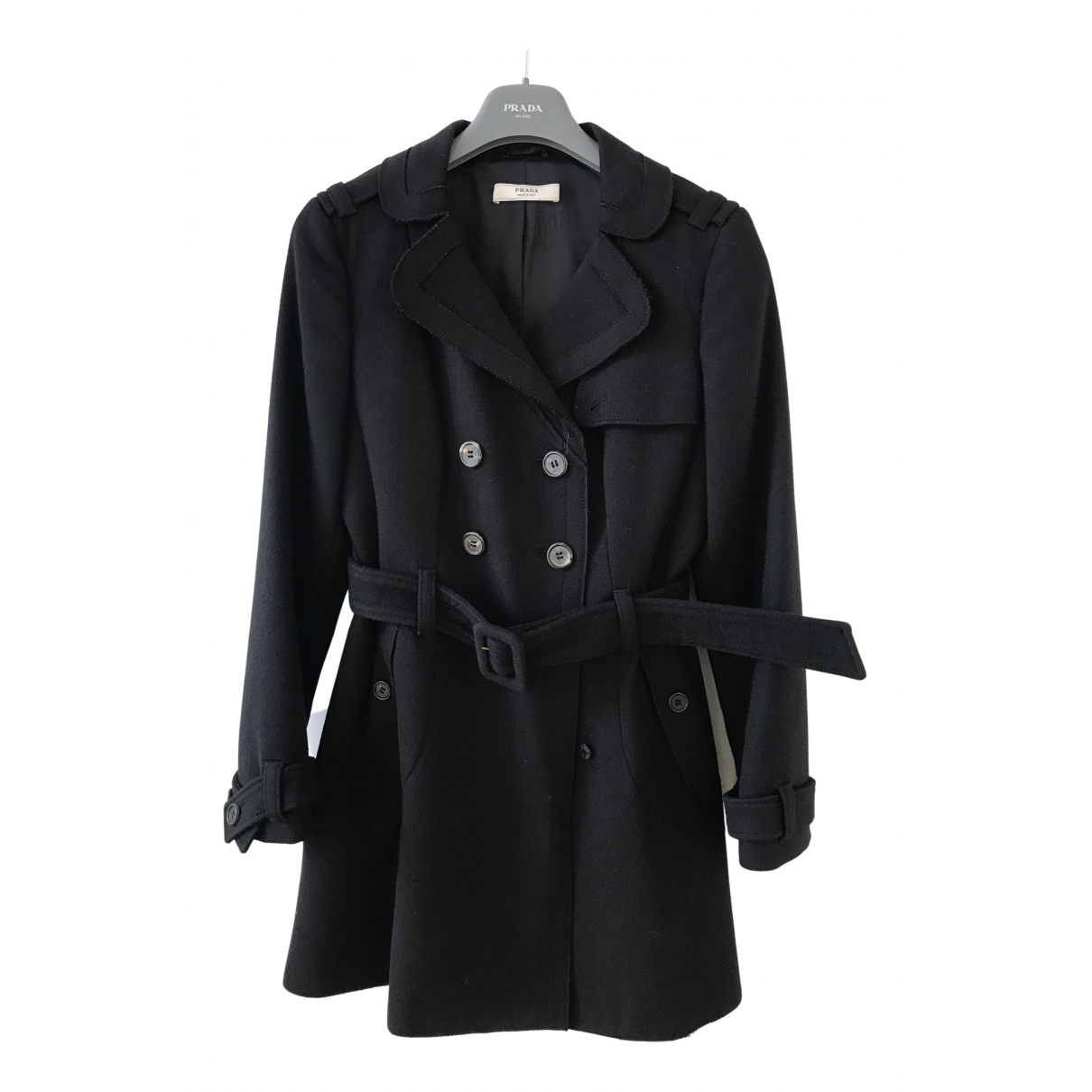 Prada N Black Wool coat for Women 38 IT