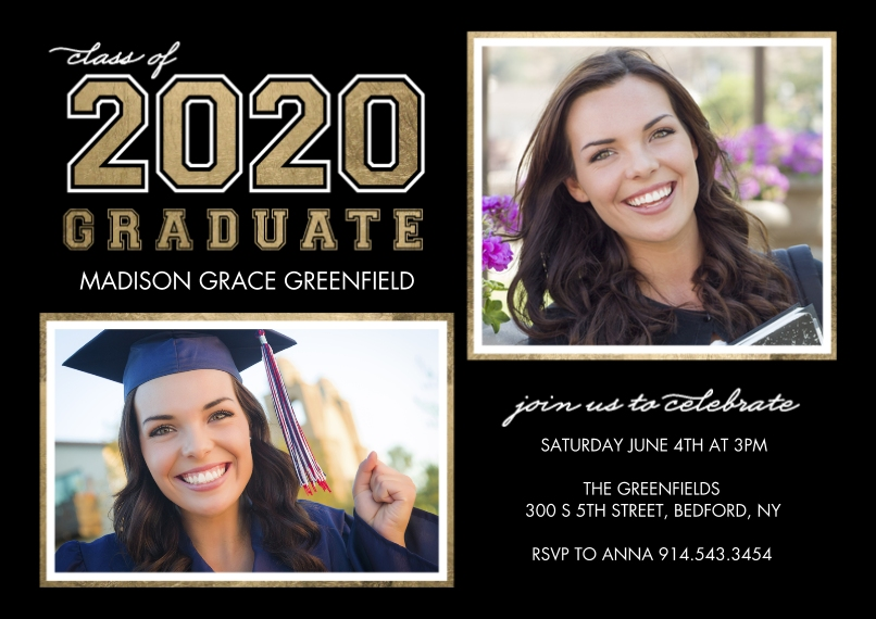 2020 Graduation Announcements 5x7 Cards, Premium Cardstock 120lb with Rounded Corners, Card & Stationery -2020 Graduate Collegiate by Tumbalina