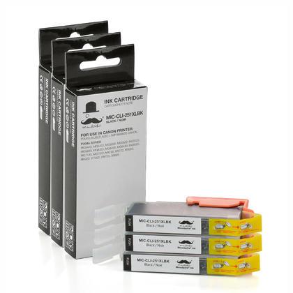 Compatible Canon CLI-251XL noire cartouche encre (6448B001) de Moustache, 3 paquet