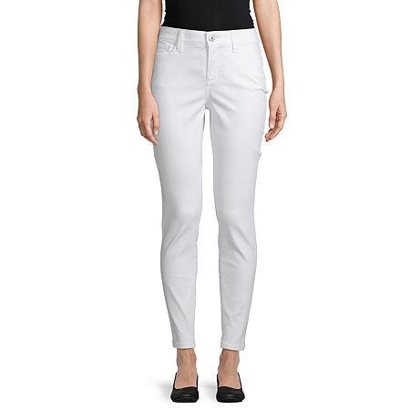 St. John's Bay Womens Mid Rise Skinny Fit Jean, 20 , White