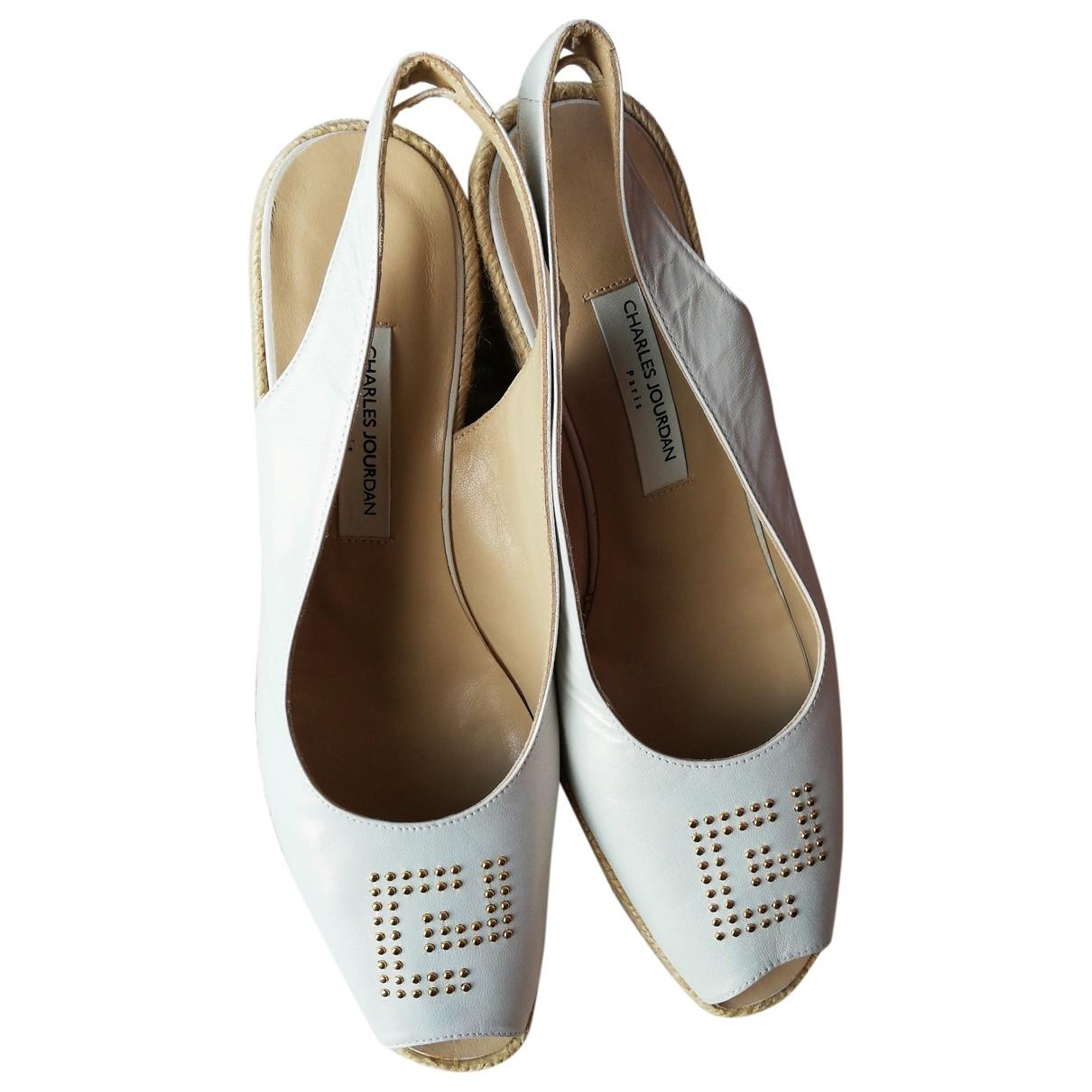 Charles Jourdan - Espadrilles   pour femme en cuir - blanc
