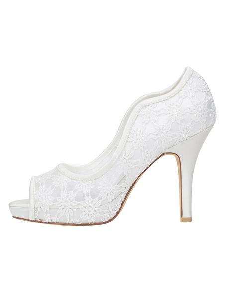 Milanoo Lace Bridal Shoes Ivory Stiletto Heel Platform Peep Toe Slip On Pumps For Wedding