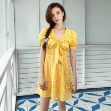 Tie Front Puff Sleeve Gingham A-line Dress