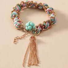 Braided Chain Tassel Bracelet