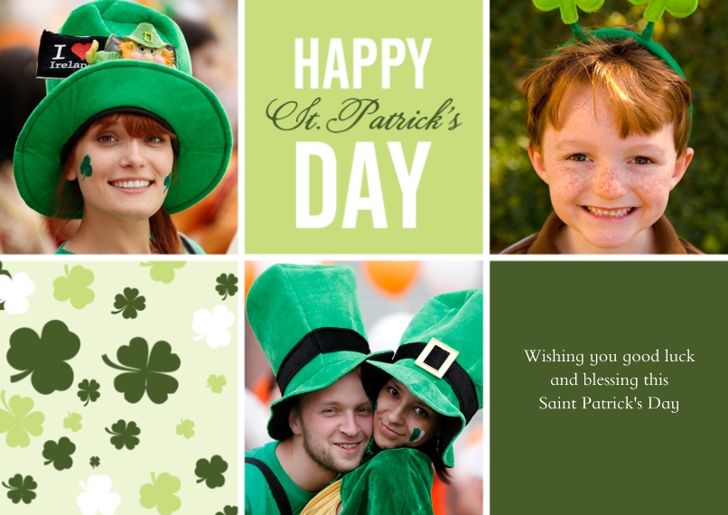St. Patricks Day Cards 5x7 Cards, Premium Cardstock 120lb with Elegant Corners, Card & Stationery -Clover Collage