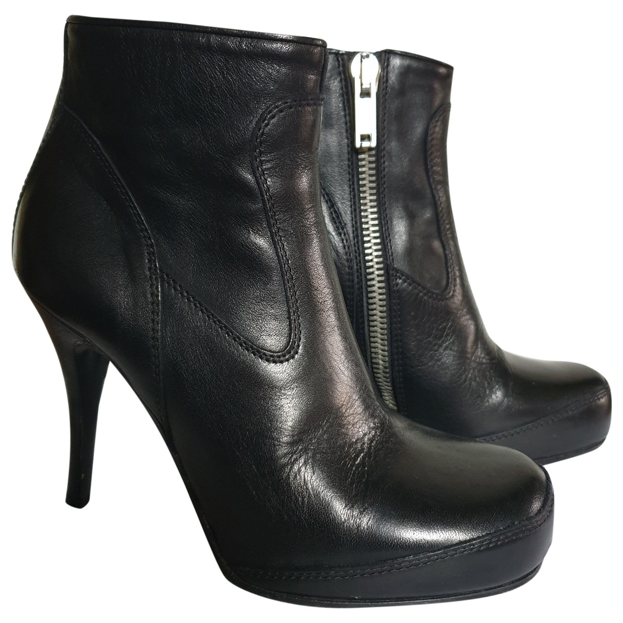 Rick Owens \N Black Leather Ankle boots for Women 35.5 EU