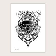 1 hoja pegatina de tatuaje con patron de flor
