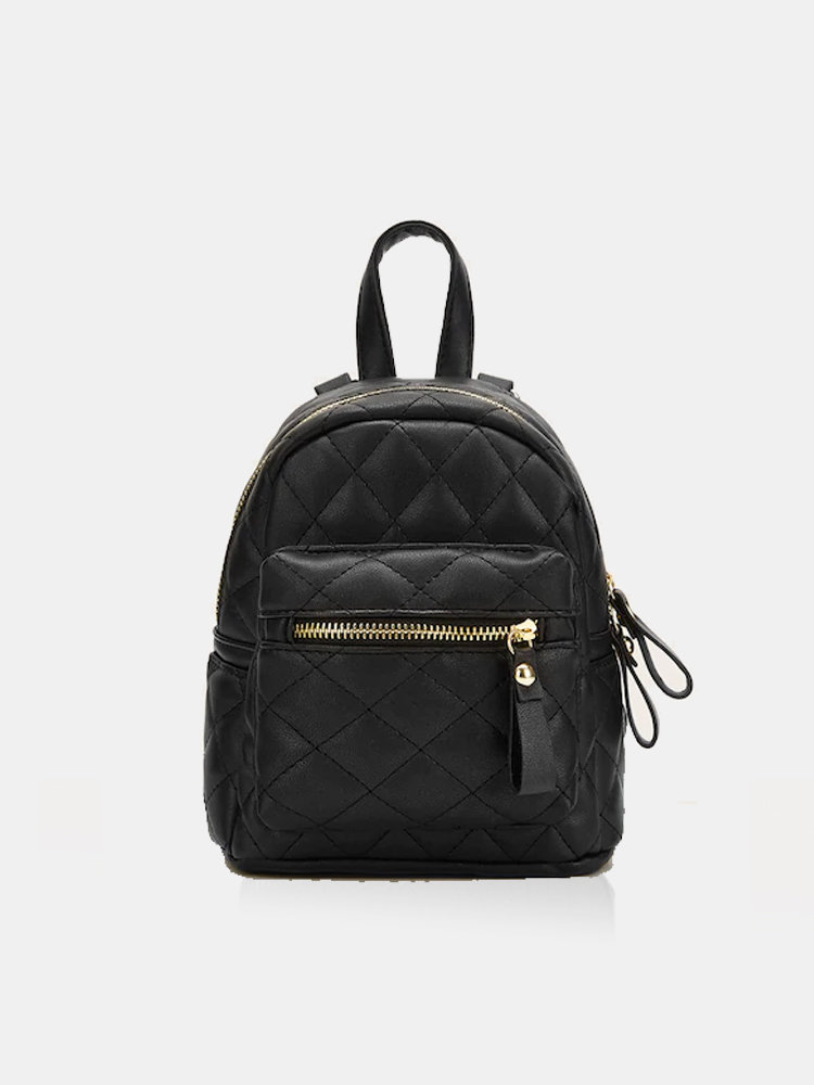 Women Dual Use Quilted Zipper Simple Mini Backpack