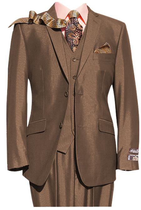 Mens Brown 2 Button 3 Piece Notch lapel Suit