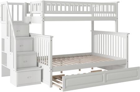 Columbia Staircase AB55732 Twin Over Full Size Staircase Bunk Bed with Raised Panel Trundle Bed  Modern Style  Built-In Modesty Panel  Assembled