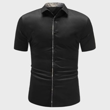 Men Contrast Trim Button Front Shirt