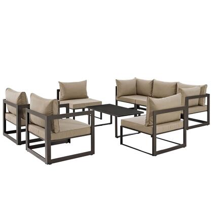 Fortuna Collection EEI-1725-BRN-MOC-SET 8-Piece Patio Sectional Sofa Set with 2 Corner Sofa  5 Armless Chairs and Coffee Table in Brown and