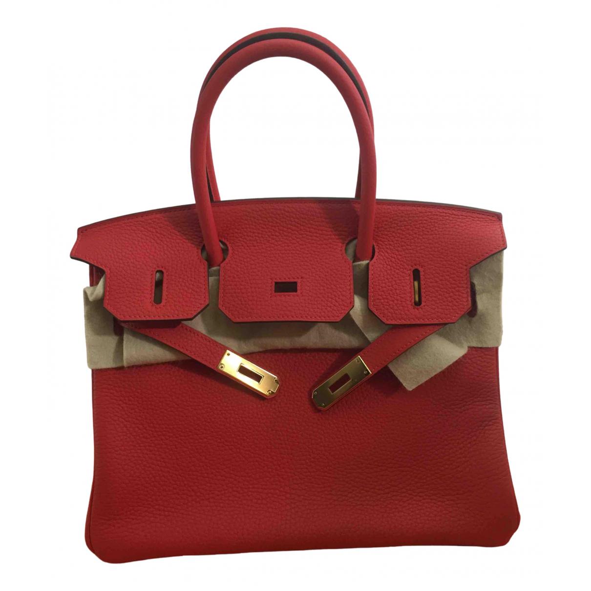 Hermes - Sac a main Birkin 30 pour femme en cuir - rouge